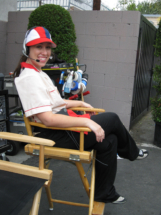 Chillin' on set as the drive through girl